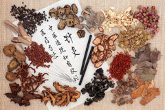 Chinese Herbal Medicine. Chinese medicinal herb ingredients, acupuncture needles and moxa sticks  with calligraphy on rice paper. Translation describes Stock Photo