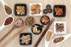 Chinese Herbal Medicine. Selection with I ching coins, mortar with pestle and chopsticks over light oak background stock image