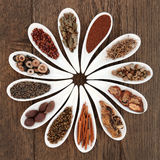 Chinese Herbal Medicine. Selection in porcelain dishes over oak background stock photography