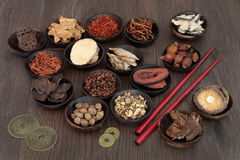 Chinese Herbal Medicine. Selection in wooden bowls with feng shui coins and chopsticks on oak background Royalty Free Stock Image