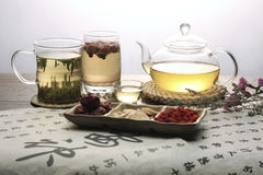 Chinese herbal medicine and tea set Royalty Free Stock Image
