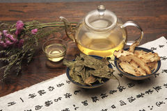 Chinese herbal medicine and tea set Royalty Free Stock Photos