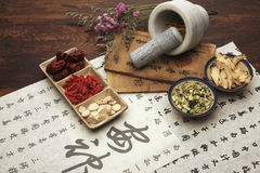 Chinese herbal medicine and tea set stock image