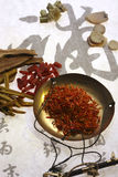 Chinese herbal medicine and weight scale Royalty Free Stock Image