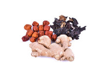 Chinese herbal soup dried ingredients. Mature ginger, ear mushro Royalty Free Stock Image