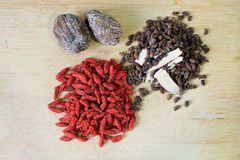 Chinese herbal soup ingredients Stock Images