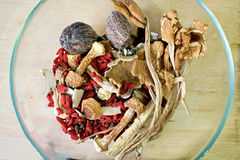 Chinese herbal soup ingredients Royalty Free Stock Photography