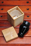 Chinese herbal wood box and bottle Royalty Free Stock Photos