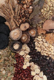 Chinese Herbs. Chinese herbal medicine selection forming a background stock photo