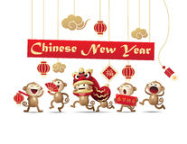 Chinese het karakter Vectorreeks van de Nieuwjaaraap Stock Fotografie