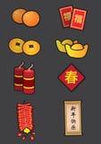 Chinese het Pictogramreeks van de Nieuwjaar Symbolische Decoratie Stock Fotografie
