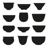 Chinese het silhouet vectorreeks van de theekop Abstract ontwerpembleem Royalty-vrije Stock Afbeeldingen