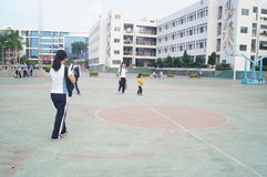 Chinese high school students playing basketball Stock Photos