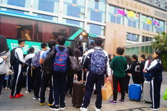 Chinese high school students in waiting for the bus back to school Stock Photography