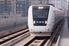 Chinese high speed train at city Stock Image