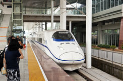Chinese high speed train at Shaoguan Railway Royalty Free Stock Photography