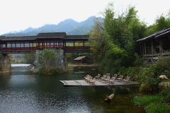 Chinese historic covered bridge Stock Photos