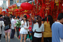 Chinese holiday - decoration stalls stock image