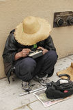 Chinese homeless woman Royalty Free Stock Image