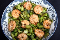 Chinese homely dish. Chinese-style stir-fry, shrimp and pea Stock Photos