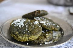 Chinese homemade matcha cookies with sugar on top royalty free stock image