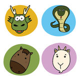Chinese horoscope animal set Royalty Free Stock Image