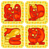 Chinese horoscope animal set Stock Images