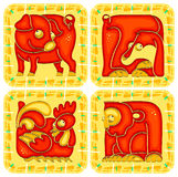 Chinese horoscope animal set Stock Image