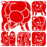 Chinese horoscope animals set. Pig, Rat, Ox, Tiger, Cat, Dragon Stock Images