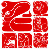 Chinese horoscope animals set. Snake, Horse, Sheep, Monkey, Rooster, Dog Royalty Free Stock Images