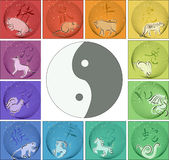 Chinese horoscope around yin yang. Animals of chinese 12-year cycle horoscope around yin yang sign in blended circles with hieroglyphs Royalty Free Illustration
