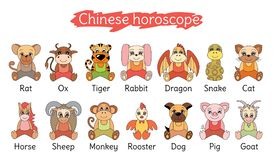 Chinese horoscope collection. Zodiac sign set. Pig, rat, ox, tiger, cat, , stock illustration