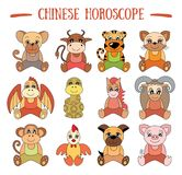 Chinese horoscope collection. Zodiac sign set. Pig, rat, ox royalty free illustration