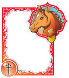 Chinese horoscope frame series: Horse Stock Image