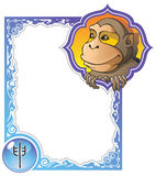 Chinese horoscope frame series: Monkey. Monkey, the ninth sign of the Chinese zodiac's 12 animals, vector illustration in cartoon style Stock Illustration