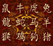Chinese horoscope hieroglyphs Stock Photo