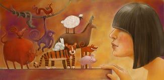 Chinese horoscope illustration Stock Images