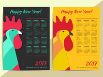 Chinese horoscope Rooster symbol. Creative 2017 calendar grid.. Happy new year zodiac vector background illustration design Stock Photos