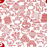 Chinese horoscope seamless vector pattern. Chinese horoscope pattern background. Vector seamless line design of China zodiac signs and traditional celebration vector illustration