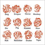 Chinese Horoscope - vector set. Royalty Free Stock Photo