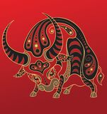 Chinese horoscope. Year of the ox Stock Image
