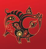 Chinese horoscope. Year of the pig Stock Photos
