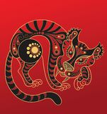 Chinese horoscope. Year of the tiger. Tiger in decorative style. The vector art image is very well-organized in groups vector illustration