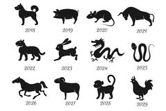 Chinese horoscope zodiac animals. Vector symbols of year Royalty Free Stock Image