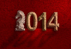 2014 Chinese Horse 3D Chisel Stone on Red Background Stock Photos