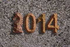 2014 Chinese Horse 3D Chisel Stone on Texture Background Stock Image