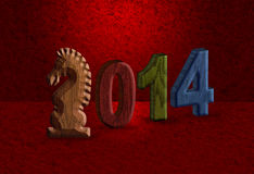 2014 Chinese Horse 3D Wood Block Red Background. 2014 Chinese Lunar New Year of the Horse 3D Wood Blocks Numerals with Horse Text Symbol on Red Grunge Background Stock Photos
