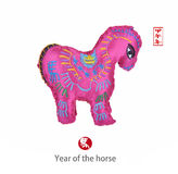 Chinese horse knot on white background. Word for horse, 2014 is year of the horse Royalty Free Stock Photo
