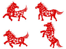 Chinese horse-paper cut. Isolated red Chinese horse paper cut on white background Stock Images