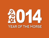 2014 Chinese Horse Paper Cut Out Illustration. 2014 Chinese Lunar New Year of the Horse Numerals with Horse Text Symbol White Paper Cut Out on Orange Background royalty free illustration